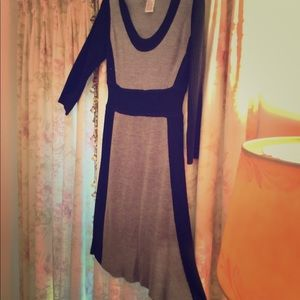 Gray and Black Color Block Knit Dress  Size Medium